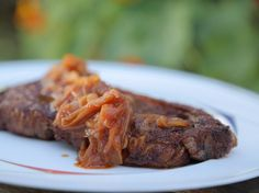 Spice-Rubbed Strip Steaks with Sweet-and-Spicy Onion Sauce recipe from Daphne Brogdon via Food Network Steak Recipes, Sauce Recipes, Smoker Recipes, Turkey Recipes, Grilling Recipes, Cheddar, Healthy Cooking, Cooking Recipes, Onion Sauce