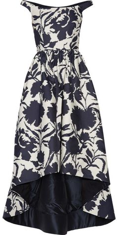 Oscar de la Renta Off-the-shoulder printed cotton and silk-blend dress