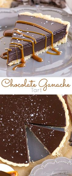 This simple and elegant Dark Chocolate Ganache Tart can be topped with anything you like, from a sprinkling of sea salt to dulce de leche or fresh berries. | livforcake.com via @livforcake