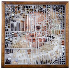 """Michael Mapes, case no. M, 201411""""w x 11h x 3.5dphotographs, botanical specimens, fabric samples, black pepper, tea, coffee, clay, cotton, thread, insect pins,…"""