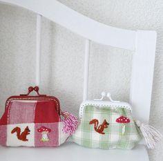 刺繍のがま口 リスときのこ #西荻きのこ村 #西荻窪 #embroidery #pandafactory #handmade #purse #coinpurse #squirrel #リス #鳩 #刺繍 #がま口 #ハンドメイド #mushroom #きのこ