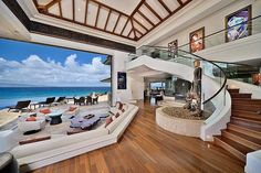 I like how the beach comes into the home.