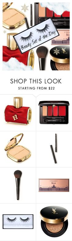 """Beauty Set of the Day"" by dressedbyrose ❤ liked on Polyvore featuring Carolina Herrera, Guerlain, Dolce&Gabbana, Laura Mercier, By Terry, Huda Beauty, Yves Saint Laurent, Beauty and polyvoreeditorial"