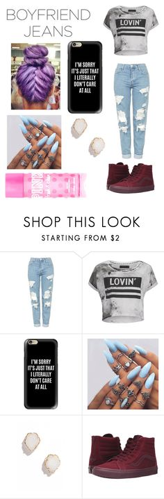 """""""Boyfriend Jeans"""" by supersummerlover ❤ liked on Polyvore featuring Topshop, Religion Clothing, Casetify, Kendra Scott, Vans and Victoria's Secret PINK"""