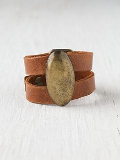 leather cuff with horn