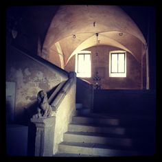 Scalinata nell'ingresso del Palazzo comunale, con leone( marzocco,simbolo di firenze) che addenta il collo della cavalla(simbolo di Pistoia.)