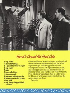 Mayberry Harriet's Caramel Nut Pound Cake Recipe Postcard