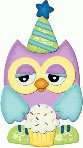 Silhouette Online Store - View Design #56079: birthday owl holding cupcake pnc