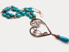 Iaia Bijoux: Wire wrapped necklace with howlite