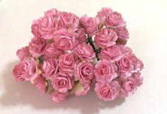 50 PCS PINK MULBERRY PAPER ROSES FLOWERS HANDMADE LOVE CARD WEDDING 15mm #handmade