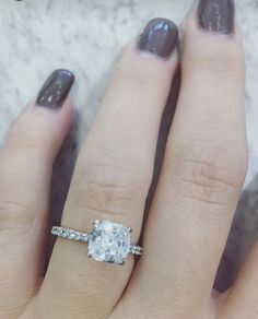 In LOVE with this cushion cut and platinum engagement ring! <3 <3