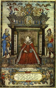 Elizabeth I on the frontispiece of Saxton's Atlas. Attributed to Remegius Hogenberg, 1579.