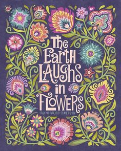 """Wycinanki Giclee Folk Art Print """"The Earth Laughs in Flowers"""" in Blossom Colors 8x10 by Mary Tanana, Groovity Designs."""