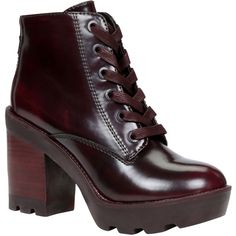 ALDO Serinna (3.260 RUB) ❤ liked on Polyvore featuring shoes, boots, ankle booties, ankle boots, bordeaux, lace up high heel booties, high heel boots, lace up ankle boots, rubber boots and high heel booties