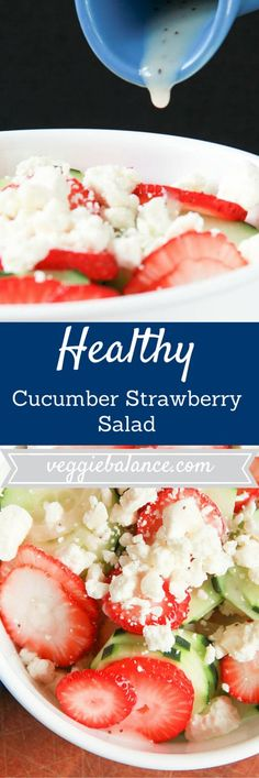 Cucumber Strawberry Salad | Fresh ripe strawberries paired with crisp cucumber and a poppyseed dressing. It's a winner! Gluten-Free, Vegetarian, Healthy!