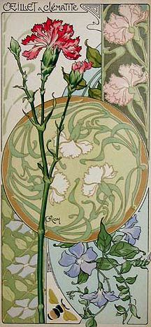 """Pinks & Clematis"" ~ Art Nouveau illustration by Riom"