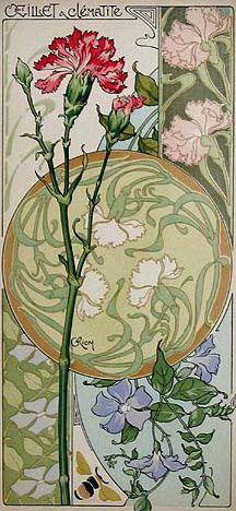 inspirations for art nouveau Riom Pinks & Clematis from Etude de Fleurs. ~via mpt.1607, Flickr