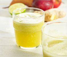 Juice på päron och äpple smaksatt med fräsch lime och kryddig ingefära. En frisk juice med enkla ingredienser som går snabbt att göra i en råsaftcentrifug.