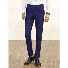 Zipper Fly Checked Straight Leg Pants (32 BAM) ❤ liked on Polyvore featuring men's fashion, men's clothing, men's pants, men's casual pants, mens straight leg cargo pants, mens zip off pants, mens checkered pants and mens zipper pants