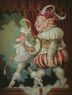 A fantasy surrealist painting by David Merriam of two snooty characters walking in baroque costumes