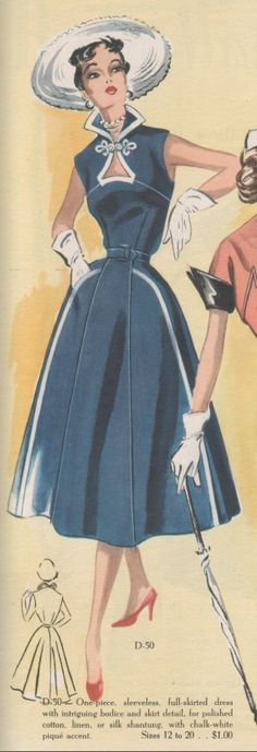 Modes Royale D-50, Spring/Summer 1952; Sz 14/Bust 32  AND Sz 16/Bust 34  Pattern info https://www.etsy.com/transaction/133983604