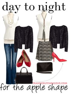 Go from Casual Friday to Date Night in this outfit idea of separates that flatter the apple shape. #outfitidea #appleshape [http://www.franticbutfabulous.com/2014/01/10/day-night-outfit-idea-apple-shape/]
