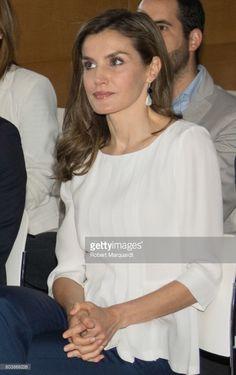 Queen Letizia of Spain (R) attends the 'Rescatadores de Talento' meeting held at the Palacio de Congressos de Girona on June 30, 2017 in Girona, Spain.