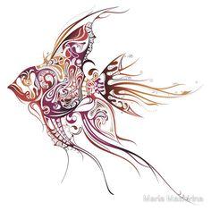 Illustration of Tropical Fish vector art, clipart and stock vectors. Theme Tattoo, Fun Tattoo, Sick Tattoo, Tattoo Art, Fish Vector, Angel Fish, Fish Art, Skin Art, Tropical Fish