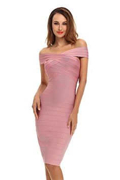 New Trending Formal Dresses: Whoinshop Women's Rayon Off Shoulder Midi Bodycon Cocktail Bandage Dress (XXL, pink). Special Offer: $59.00 amazon.com Whoinshop Women's Rayon Off Shoulder Midi Bodycon Cocktail Bandage Dress.This pale pink hot dress features an off the shoulder cut, and ultimate drop dead bandage design. Made with our heavy weight bandage fabric to hold you in all night long....