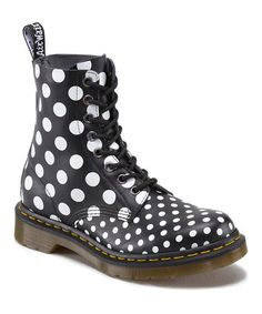 Another great find on #zulily! Black & White Dot Chay Leather Boot by Dr. Martens #zulilyfinds
