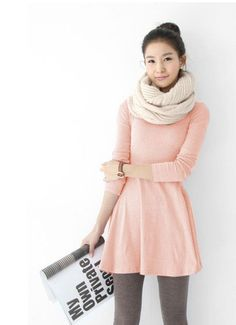 Ladylike Plus Size Multi Solid Color Scoop Neck Long Sleeves Cotton Blend Dress For Women (PINK,L) China Wholesale - Sammydress.com