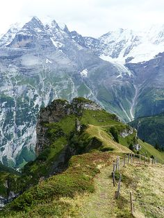 Gimmelwald, Switzerland  near Murren, overlooking the Lauterbrunnen Valley -- the Jungfrau is just across the valley...visited during my magical hiking trip through Switzerland one summer...