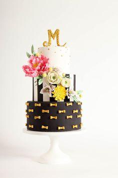 Modern black and white floral wedding cake