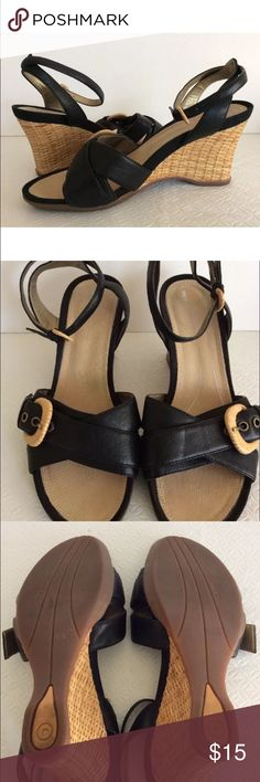 Rockport Wedge Sandals Rockport Wedge Sandals Size-8 Color- Black Nice combination of black leather & straw heel and buckles. Cushion insole, dynamic suspension technology, ankle strap.  * In great shape, please look at all pics, gently used**     THANK YOU FOR YOUR INTEREST Rockport Shoes Wedges