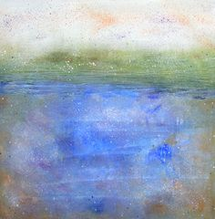 Ethereal abstract coastal landscape painting