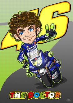 Valentino Rossi Cartoon on Behance Valentino Rossi Helmet, Valentino Rossi Logo, Motogp Valentino Rossi, Motorcycle Art, Bike Art, Course Moto, Offroad And Motocross, Yamaha Motorcycles, Vr46