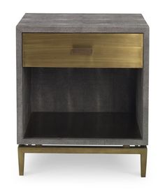 This versatile bedside is a modern adaptation of a original. Materials make all the difference. Odettes crisp clean lines are softened with faux shagreen and an Aged Brass drawer handsomely lined in Cardinal red velvet. Cabinet Furniture, Table Furniture, Modern Furniture, Home Furniture, Furniture Design, Nightstands, Bedside Drawers, Dressers, Wood