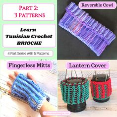 Tunisian Brioche Series – Part 1 and 2 of Four Part Series – Learn Brioche Formula 3 Patterns – Light and Joy Designs Easy Crochet Projects, Easy Crochet Patterns, Knitting Patterns, Quick Crochet, Tunisian Crochet, Crochet Gifts, Crochet Hooks, I Love This Yarn, Fingerless Mitts