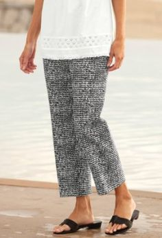 Black-and-white-print Cropped Pants, 4 Orvis. $69.00