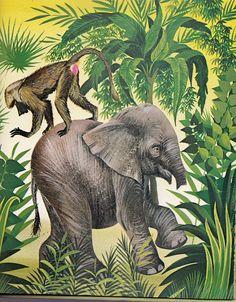 The Elephant's Child; How the elephant got his trunk vintage Rudyard Kipling book - 1940's illust.