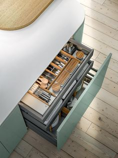 A new line of cutlery drawers and deep drawers. They open with minimal effort and slide even more smoothly along the levitation runner, making the system even more practical to use. XXL VOL. Design Kitchen, Cutlery, Effort, Minimalism, Drawers, Deep, Home Decor, Design Of Kitchen, Drawer