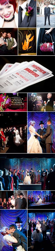 Vaudeville and burlesque inspired wedding at Bimbo's 365 Club in San Francisco, California, photographed by Jules Bianchi