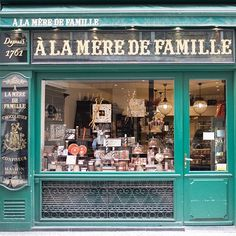 Paris's oldest and most venerable chocolate shop founded in 1761 À la Mère de Famille now in a number of locations around Paris. #Paris #parisfrance #france #europe #chocolateshops #parisshops #parisstores #travelphotography #worldtravel #iloveparis #parisjetaime #parisianmoments #parisfineartprints by aparisianmoment
