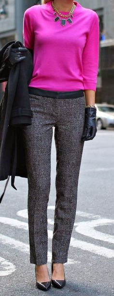Love the pants and the contrast though the pink isn't my look