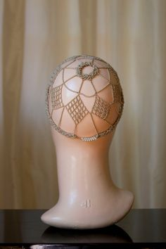 1920's Beaded Headdress Antiqued Pearl by GarbOhVintage on Etsy, $225.00