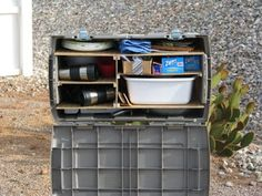 chuck box using a plastic tote Good for family car camping – Famous Last Words Auto Camping, Truck Camping, Camping Glamping, Camping Survival, Family Camping, Camping Hacks, Outdoor Camping, Camping Ideas, Camping Stuff