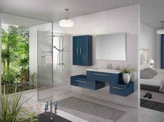 Salle de bain bleu petrole