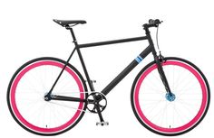 The Fiancé by Solé Bicycles. $379 Matte Black and Pink Fixed Gear & Single Speed bike for Sale by Solé Bicycles. A Perfect Beach Cruiser or City Commuter Bike