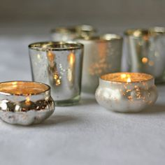 Mini Mercury Silver Tea Light Holder