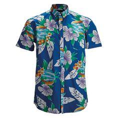 Buy Selected Homme Hawaiian Short Sleeve Shirt, Blue Atoll/Hawaiian Online at johnlewis.com